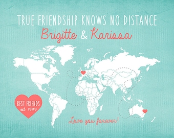 Gift for Best Friend, Long Distance World Map -  Custom Art Print, Friendship Quote, Sisters, Moving Away Gift, Going Away Gift | WF117
