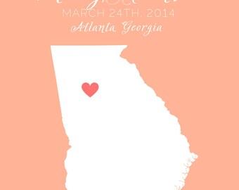 Wedding Gift for Bride and Groom, Atlanta Weddings,  Custom Art Map, Georgia, Peach - Wedding Anniversary Date, Wedding Gift for Bride