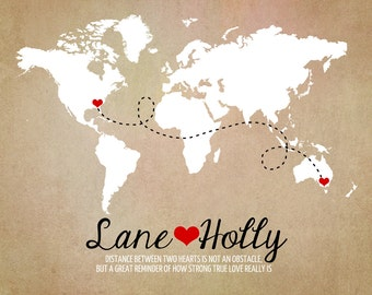 Long Distance World Map, Rustic Wedding Gift,  Art Print, Custom Engagement Gifts, Anniversary, Names, Hearts, Deployment, Quote WF265