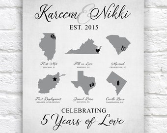 Anniversary Gift, Custom Map Art, Military Couple, Army, Marines, Navy Deployment, ANY YEAR, 5 Year Anniversary, Fifth Gift | WF704
