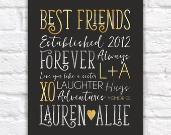 Personalized Gift for Best Friend, Typography Art, Customizable, Friends Names, Heart, Birthday, Gold Silver, Celebration, Modern | WF474