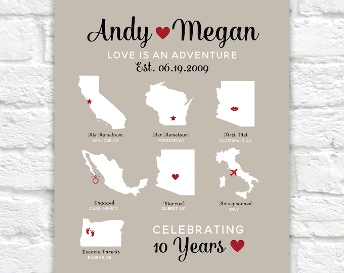 Featured listing image: Custom Anniversary Map Infographic Style Design, 7 Maps, Hometown, Met, Engaged, Married, Became Parents Gift, Travel, Personal | WF668