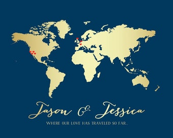 World Map for Couple who Travels -  Custom Art Print, Where our Love Has Traveled - Gold Map, Elegant Wedding Gift, Wall Decor | WF65