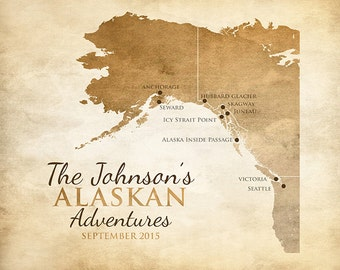 Alaska Map, British Columbia, Seattle, San Francisco - Alaskan Cruise, Alaska Cruise Map, Glaciers, Cruise Ship, Nature Gift, Victoria