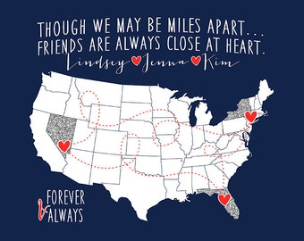 Best Friends, Long Distance Map Print, Best Friend Birthday Gifts, Present Friends, 3 Best Friends, Sisters, Navy, Military, Red | WF166