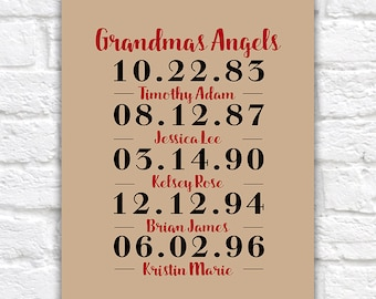 Gift for Grandparents, Grandchildren Birthdates Custom Art Print for Grandma, Grandpa from Grandkids - Personalized Print, Birthday | WF245