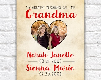 Gift for Grandma, Grandmothers Day, Birthday Gift for Grandma, Granddaughters, Mom, Mother in Law, Grandchildren Photo Heart | WF507