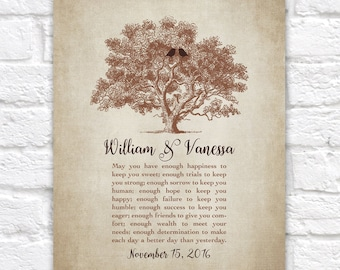 Wedding Gift for Bride and Groom from Friends, Personalized Wedding Toast, Vows, Poem, Blessing, Tree, Birds, Rustic, Anniversary | WF213