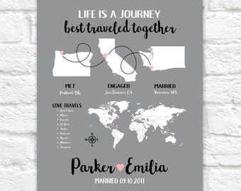 8th Anniversary Gift or ANY YEAR, Personalized Map Infographic Style Art, Unique and Thoughtful Gifts, Customizable Maps Travel | WF674