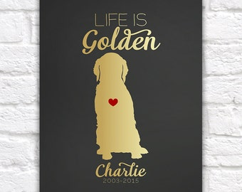 Golden Retriever Dog Gift  Art Print - Custom Pet Gift, Dog Lover, Animal, Heart, Name, Gift for Friends, Mom, Memorial, Sentimental