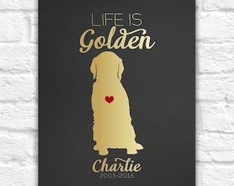 Golden Retriever Dog Gift  Art Print - Custom Pet Gift, Dog Lover, Animal, Heart, Name, Gift for Friends, Mom, Memorial, Sentimental
