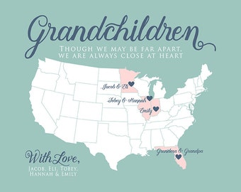 Personalized Gifts for Grandparents and Grandchildren, Long Distance Family, Gift for Parents from Kids, Great Grandma, Grandpa | WF77