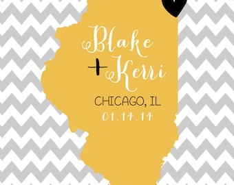Custom Chevron Map, Illinois or Any State Map, Unique Gifts under 25, Popular Gift, Colored Map, Chicago, Gray, Black, Yellow, Bumblebee