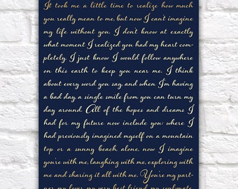 Wedding Vows Wall Art, Custom Art -  Print, Custom Vows, Gift for Husband, Bride and Groom Vows, Script Lyrics, Song, Navy and Gold