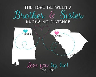 Gift for Brother, Sister Long Distance Maps, Birthday Gift for Sibling, Military Brother, Son and Daughter, Moving,Going Away,Leaving | WF14