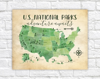 US National Parks Map, Adventure, Mountains, Parks, Rivers, Tribal, Watercolor Green, Kids Bedroom, Classroom, Educational | WF532