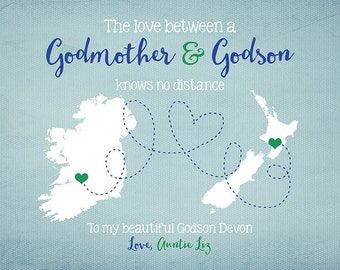 Godson, Godmother, Long Distance, Two Maps - Personalized Gift for Friends, Family, Goddaughter, Gift for Best Friend, Son, Daughter, Aunt