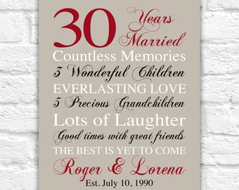 30 Years Married Gift, Personalized Anniversary Sign for Husband, Wife, Married for 30, 30th Wedding Anniversary Gift Art, Customized