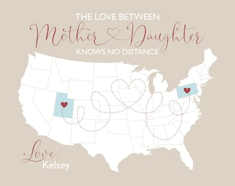 Mothers Day Gift for Long Distance Mom and Daughter, USA Map Connecting Locations With a Heart, Personalized Mom Gift, From Daughters to Mom