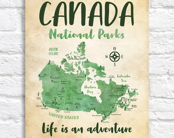 Canada National Parks on a Map POSTER Artwork, Rustic Green Map of Canada Provinces Parks, Ontario, BC, Quebec, Labrador, Kids | WF683