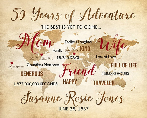 50th Birthday Gift For Mom Wife Friend Personalized World