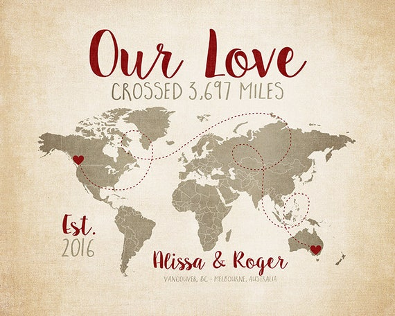 Our love crossed personalized travel map world map art etsy image 0 gumiabroncs Gallery