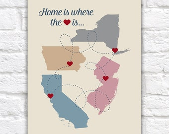 Home is where the HEART is, Personalized Map Sign, Choose up to 4 MAPS, Family Gift, Housewarming, Home Maps, Multi State, Custom | WF417
