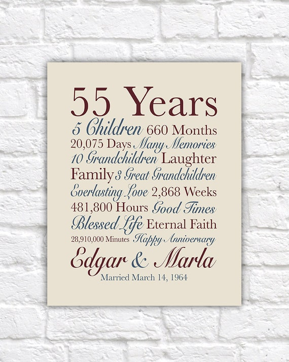 55th Anniversary Gift 55 Years Married Gift For Grandparents Etsy