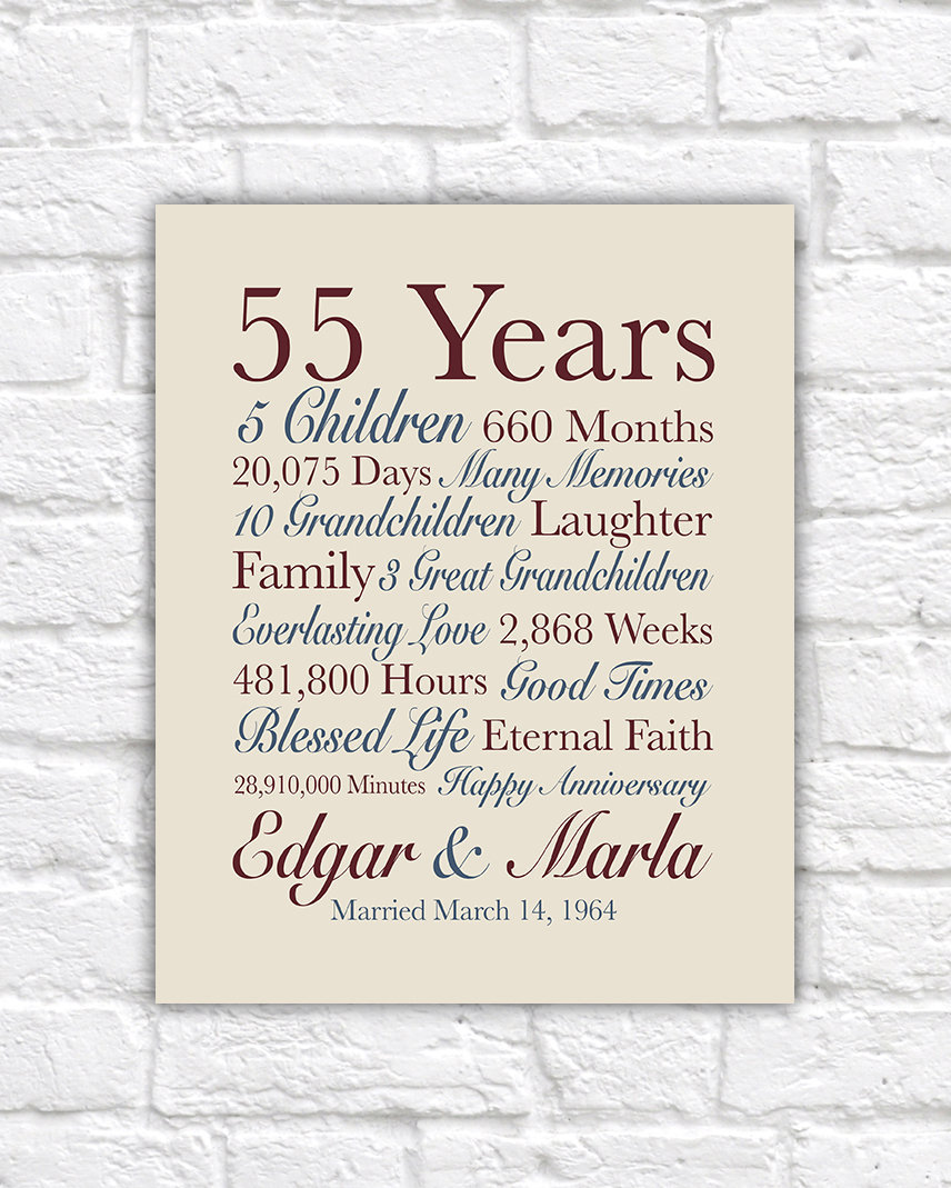 55th Anniversary Gift 55 Years Married Gift For Grandparents