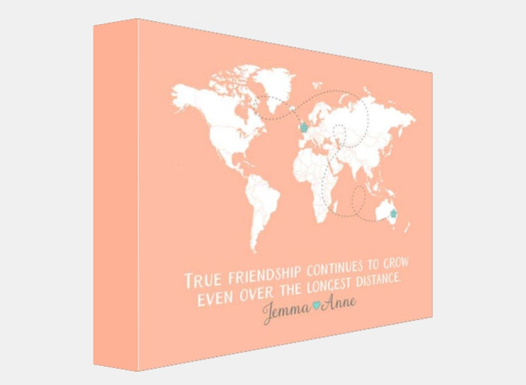 Long Distance Best Friends Custom Art Personalized World Map