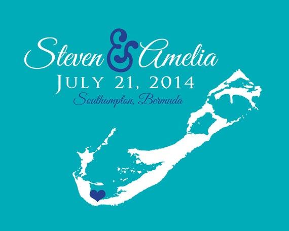 Bermuda Map Wedding Gift Art Print Names Date Location | Etsy