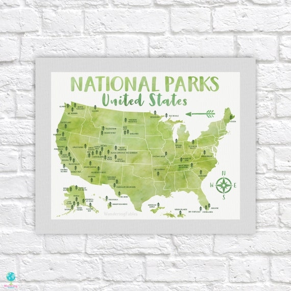 National Park Poster, All United States National Parks on Green Map,  Adventure Travel, Yosemite, Yellowstone, Kids Art, Forest Room | WF688