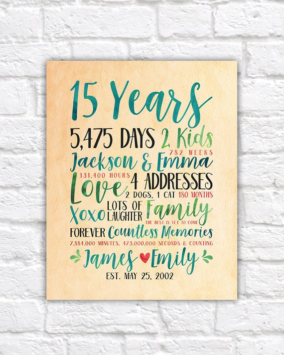 Modern Anniversary Gift Idea Choose Any Year Wedding Or Relationship Anniversary 15th 15 Years 20 Years Fun Gift For Wife Wf536