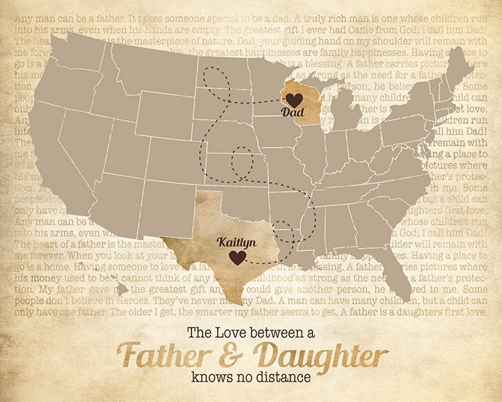 Father Dad Gift Long Distance Map Daughter Daddy Family Quotes