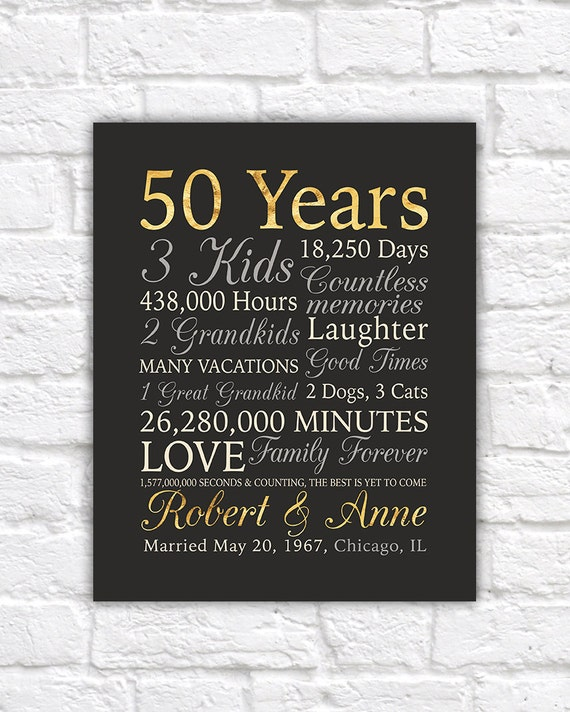 Australian Wedding Anniversary Gifts By Year: 50th Anniversary Gift Gold Anniversary 50 Years Wedding
