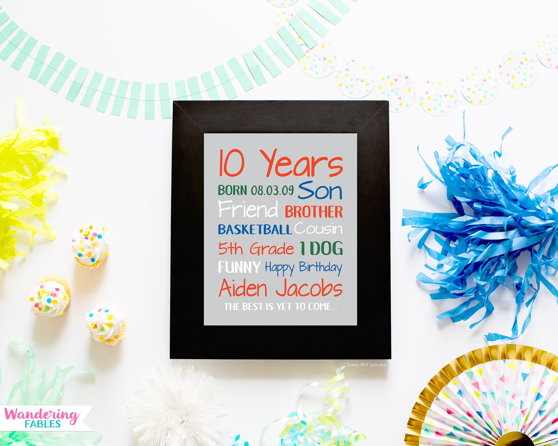 Birthday Gift For Boys 10 Year Old Gifts Personalized Bday Sign Stats Son Brother Friend Sports Room Young Men
