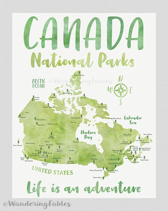 Canada National Parks Map Poster, Canvas, Art Print, Educational ...