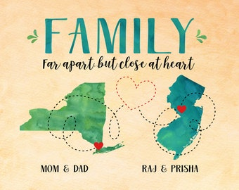 Gift for Parents, Long Distance Mom and Dad Maps, Moving Out of State, Another Country, New York, New Jersey, Family Quote Sign for In Laws