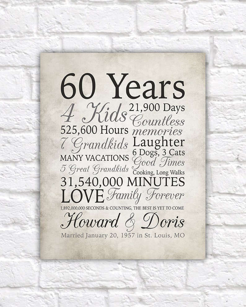 60Th Anniversary Gifts >> 60th Anniversary Gift 60 Years Married Or Any Year Gift For Etsy