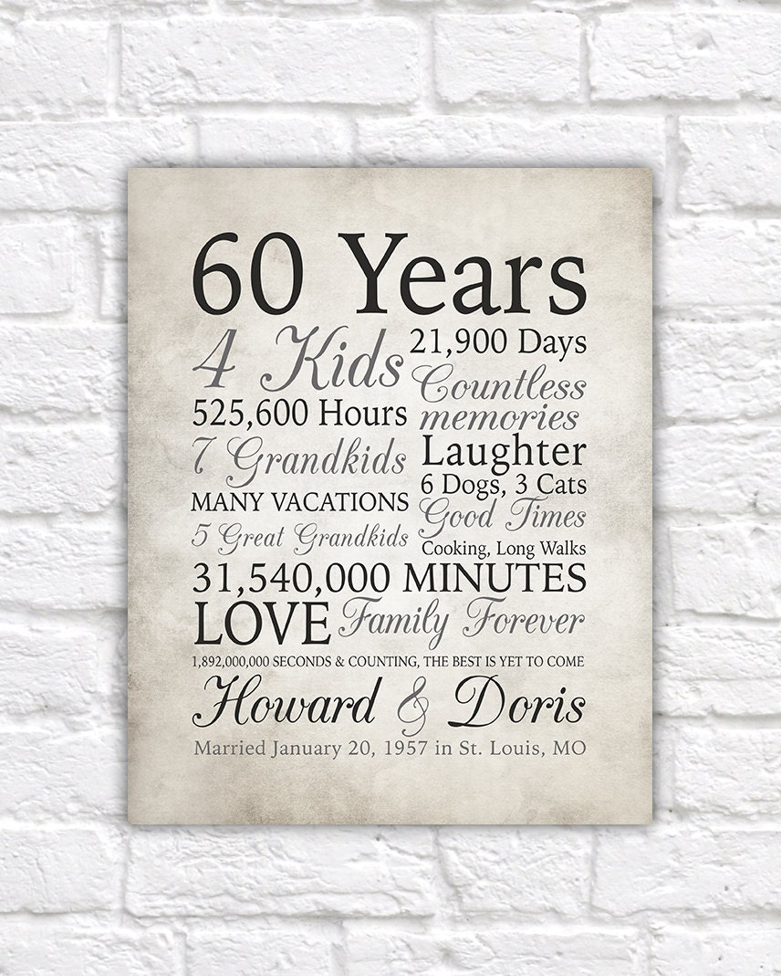 Wedding Anniversary Gifts By Year: 60th Anniversary Gift 60 Years Married Or Any Year Gift For