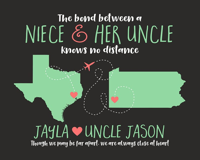 Gift For Uncle Niece Quote Map Long Distance Moving Away Etsy