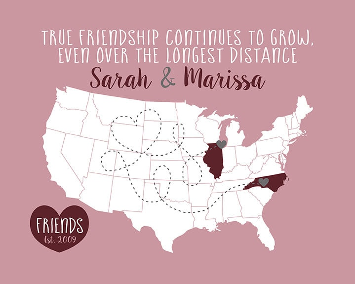 Long Distance Friend Personalized Map Gift Birthday For Best Move Away Gifts Mauve Wine Gray True Friendship