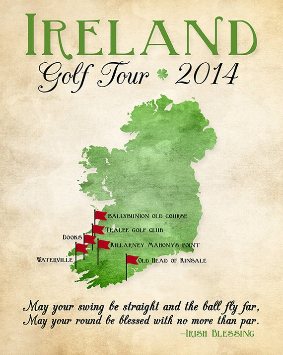 Map Of Ireland Golf.Ireland Golf Map Golf Gift Gift For Dad Personalized Travel Map Golf Trip Golf Tour Of Ireland Gift For Golfer Celtic Irish