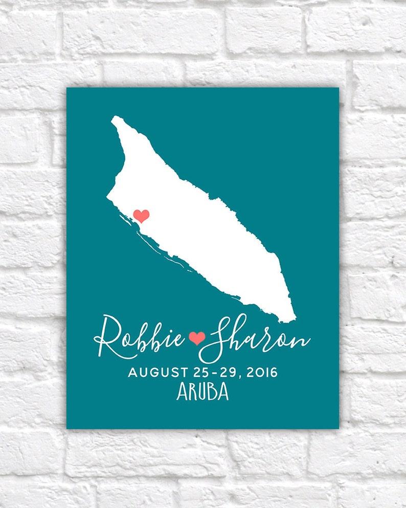 77ee287a6ee7 Aruba Honeymoon Wedding Destination Map Custom Map Gift