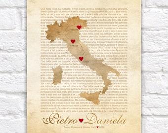 Italy Map, Wedding, Engagement in Italy, Florence, Rome, Cinque Terre, Amalfi Coast, Venice, Italian Poem, Tuscan, Tuscany, Sicily WF158