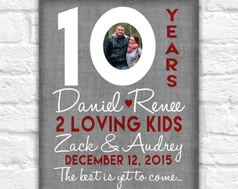 10th Wedding Anniversary Gift, 10 Year Anniversaries, Customized Gift with Photo, Kid Name, Countdown, Time together, Gifts for Men,   WF310