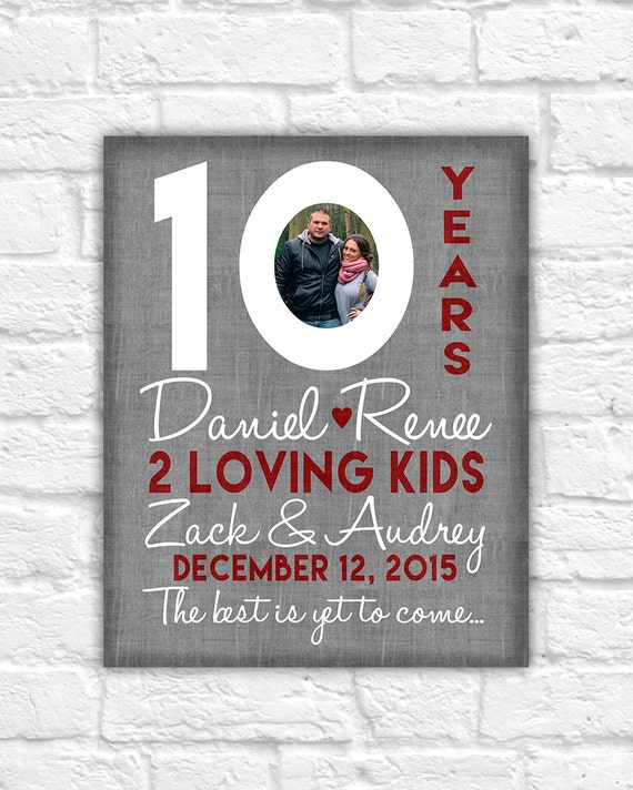 10th Wedding Anniversary Gift 10 Year Anniversaries Customized Gift With Photo Kid Name Countdown Time Together Gifts For Men Wf310