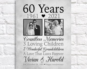 60th Anniversary Gift for Parents, Personalized 60 Years Married Then and Now Photos, Print or Canvas Sign, Grandparents Gift Anniversary