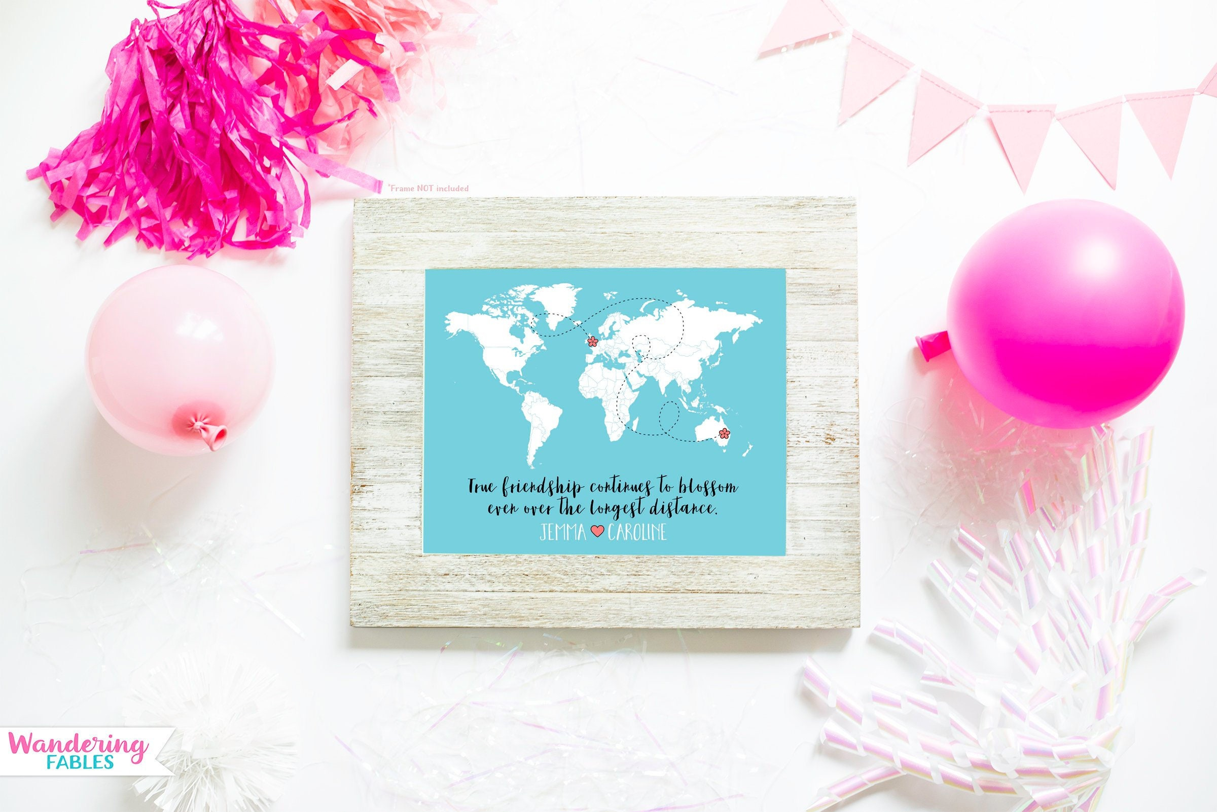 Long Distance Best Friends Custom Art Personalized World Map Friend Birthday Gift Peach And Mint Moving Away Flowers Floral