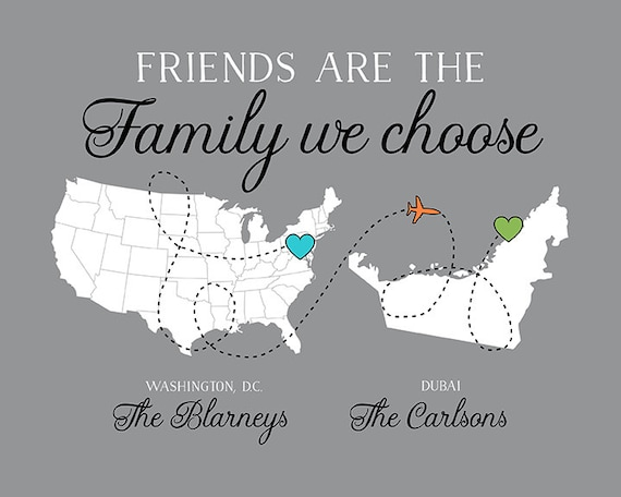 Moving Gift for Friends, Long Distance Friend Going Away Quote Map, Moving  to Dubai, Another Country, Continent, Washington DC   WF543